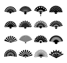 Hand Paper Fan Vector Icons. C...