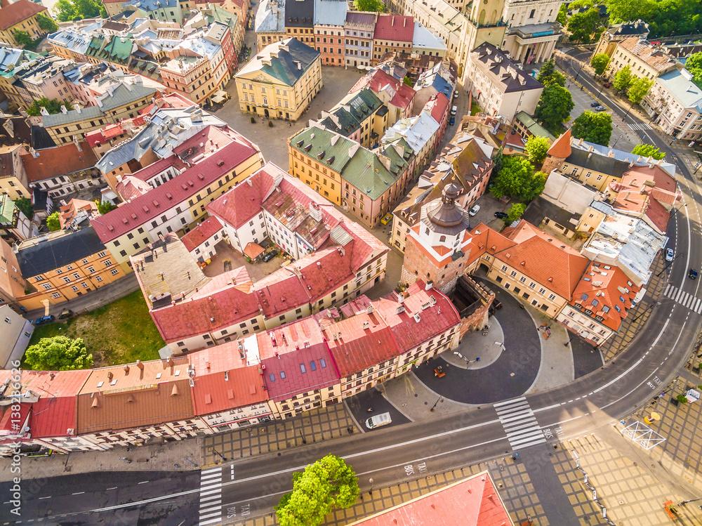 Fototapety, obrazy: Lublin - stare miasto z lotu ptaka
