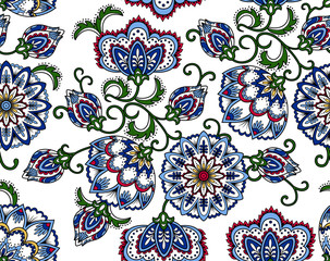 Vintage floral seamless pattern. Ethnic ornament. Stylized decorative flowers in folk style. Traditional handcraft. Seamless texture in bright colors on white background. Vector illustration.