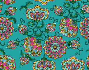 Vintage floral seamless pattern. Ethnic ornament. Stylized decorative flowers in folk style. Traditional handcraft. Seamless texture in bright colors. Vector illustration.
