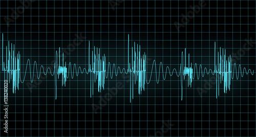 Fotografie, Obraz  Blue wave of signal  from oscilloscope creen