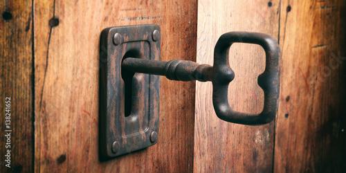 Fotografie, Obraz  Old key in a keyhole. 3d illustration