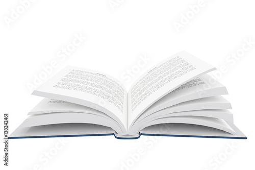 Fotografija  3D rendering of an open book on white background