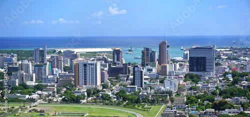 Fotografie, Obraz Aerial  panorama of Port Louis Mauritius skyline