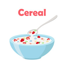 Cereal Rings, Strawberry, Spoon And Bowl. Oatmeal Breakfast With Milk