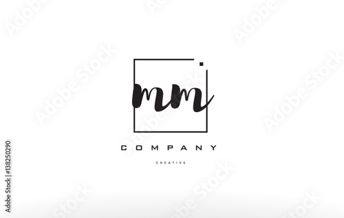 Poster mm m m hand writing letter company logo icon design