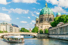 Berlin Cathedral At Famous Museum Island With Excursion Boat River