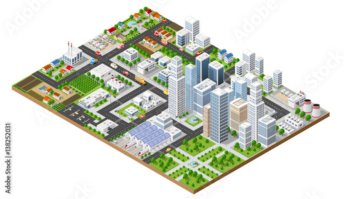 Isometric urban megalopolis top view of the city infrastructure town, street modern, real structure, architecture 3d elements different buildings