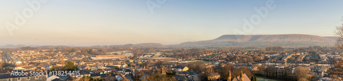 Panorama of Clitheroe taken from Clitheroe Castle with Pendle Hills in backgroun Wallpaper Mural