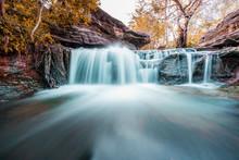 Fantasy Of Beautiful Small  Waterfall And Plants Of Sang Chan Waterfall In Ubon Ratchathani, Thailand
