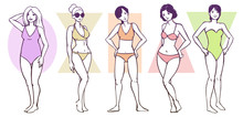 Set Of Female Body Shape Types  - Apple / Rounded, Hourglass, Rectangle, Triangle / Pear, Inverted Triangle