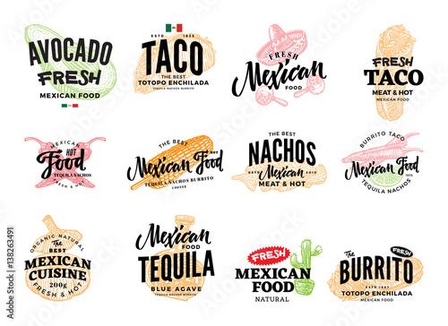 Fotografía  Hand Drawn Mexican Food Logos