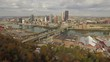 Aerial shot of Pittsburgh, PA on Monongahela River Side