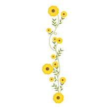 Creeper With Yellow Flowers Floral Design Vector Illustration