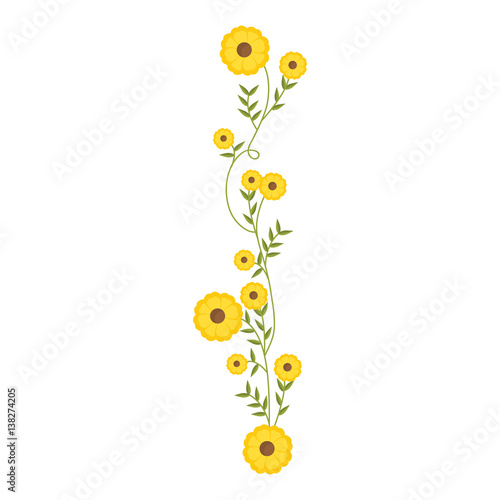 Fotografia creeper with yellow flowers floral design vector illustration