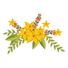 Yellow Lily Flowers Crown Floral Design With Leaves Vector Illustration