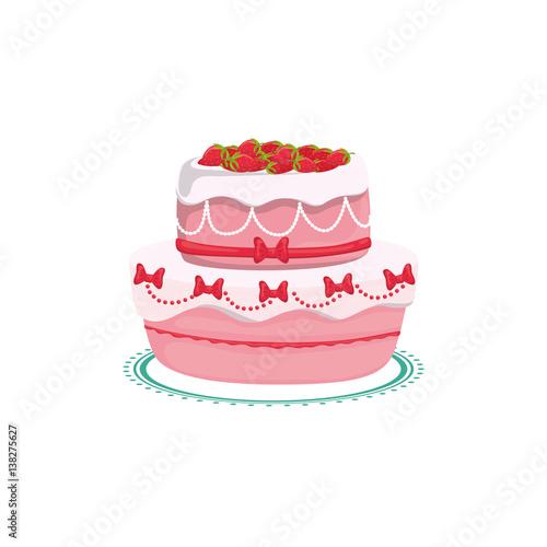 Delicious Birthday Cake Icon Vector Illustration Graphic Design