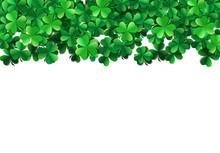 Saint Patricks Day Background With Sprayed Green Clover Leaves Or Shamrocks