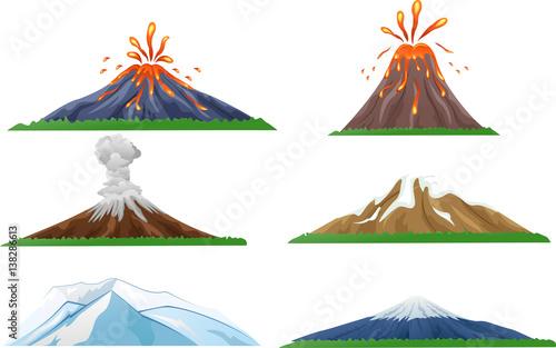 Cartoon volcano eruption set Fototapet