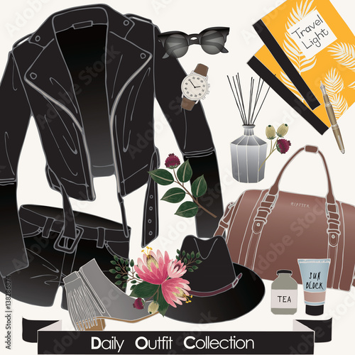Foto op Plexiglas Vector of hand drawn fashion illustration. A set of daily outfit collection with accessories and flowers.