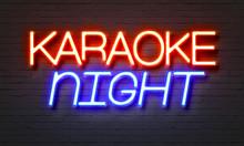 Karaoke Night Neon Sign On Brick Wall Background.