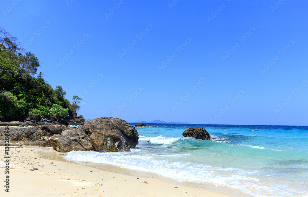 The beauty of the Andaman Sea. Mai Ton Island, Phuket, Thailand with soft-focus and over light
