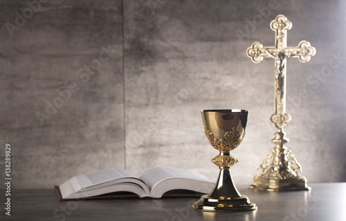 Canvas Print Chalice, Bible and altar cross.