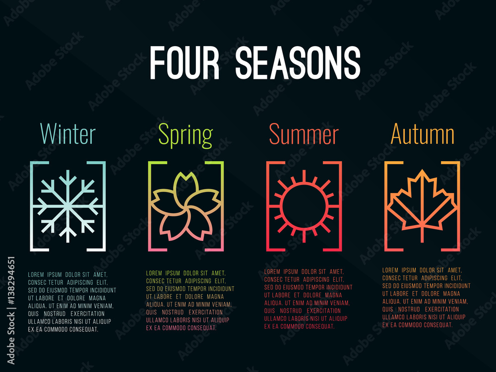 Fototapety, obrazy: 4 seasons icon sign in border gradients  with Snow Winter , Flower Spring , Sun Summer and maple leaf  Autumn vector design