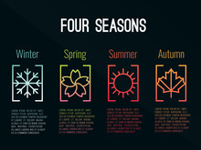 4 Seasons Icon Sign In Border ...