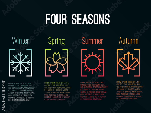 Láminas  4 seasons icon sign in border gradients  with Snow Winter , Flower Spring , Sun