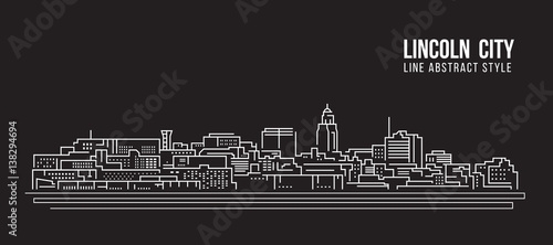 Photographie Cityscape Building Line art Vector Illustration design - Lincoln city