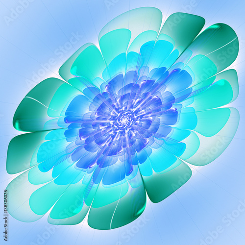Fototapety, obrazy: Space exotic flower. 3D surreal illustration. Sacred geometry. Mysterious psychedelic relaxation pattern. Fractal abstract texture. Digital artwork graphic astrology magic