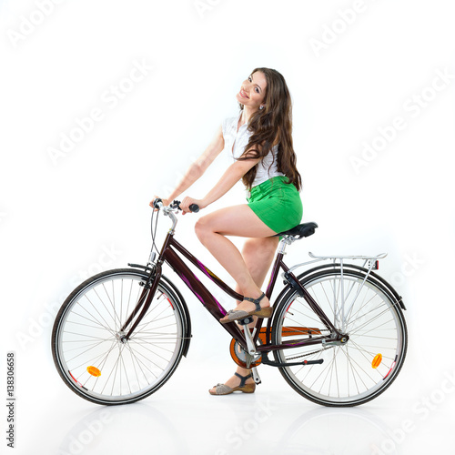 In de dag Illustratie Parijs Fashion pretty woman with retro vintage bicycle over white background. Girl with bike in studio. Cheerful young woman riding her bike, summertime, isolated.