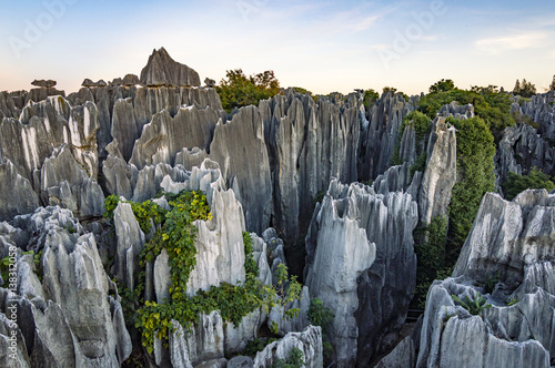 Poster Gris Beautiful sunset in Stone Forest in Shilin, Kunming, Yunnan province, China