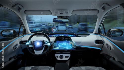 Canvastavla  empty cockpit of vehicle, HUD(Head Up Display) and digital speedometer, autonomo