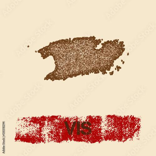 Fotografie, Obraz  Vis distressed map