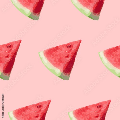 Cotton fabric Seamless pattern, a slice of watermelon on a pink background. Vector illustration.