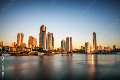 Foto op Aluminium Shanghai Sunset skyline of Gold Coast downtown in Queensland, Australia