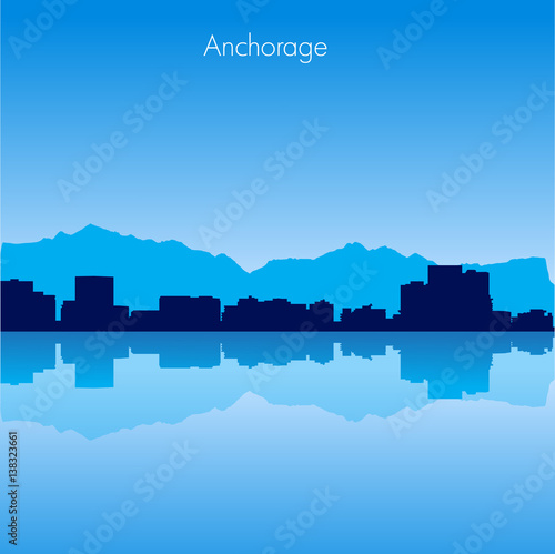 Anchorage Vector skyline Wallpaper Mural