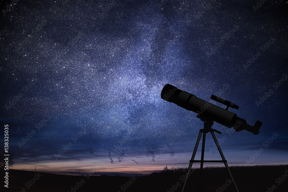 Fototapety, obrazy: Silhouette of telescope and starry night sky in background. Astronomy and stars observing concept.