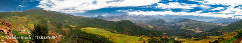 Panorama view to Atlas mountains and valley, Morocco Wallpaper Mural