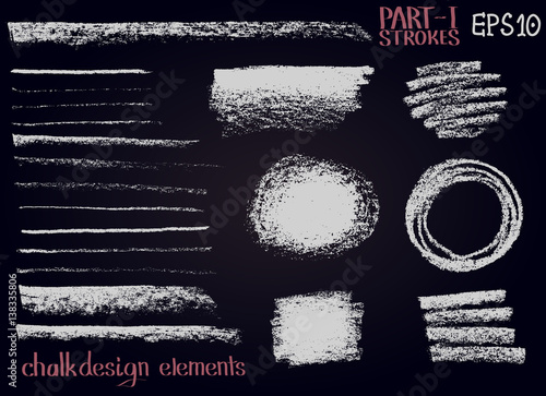 Chalk texture design elements Lines, stripes, strokes, round and rectangle shapes, frames on black board Canvas Print