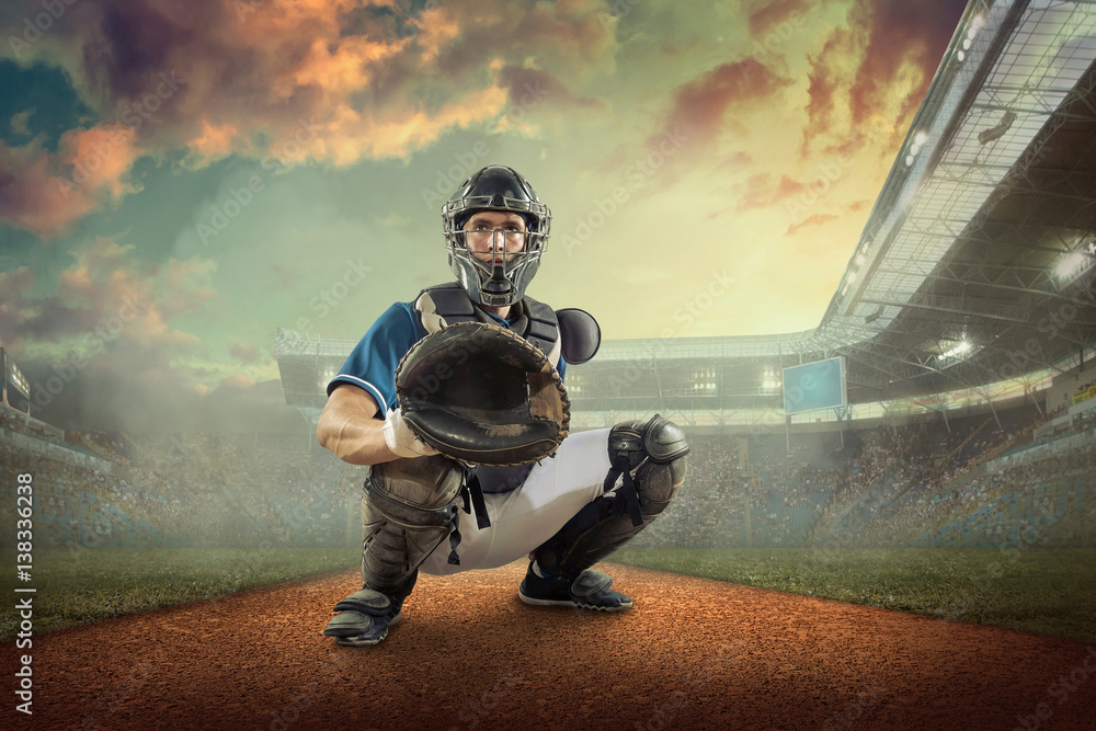 Fototapety, obrazy: Baseball players in action on the stadium.