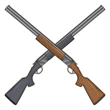 Two Crossed Shotguns, Vector I...