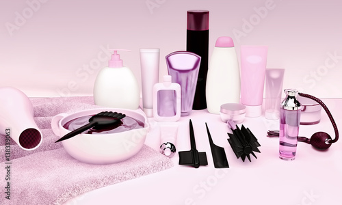 Fotografie, Obraz  Hairdresser Accessories for coloring hair on a white table.