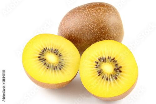 fresh yellow kiwi fruits isolated on a white background
