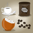 Vector illustration of logo for set coffee cups,seeds on background.Coffee drawing consisting of cup hot liquid,sweet sugar in bowl,porcelain mug with a spoon,turk caffeine.Drink coffees in grains.