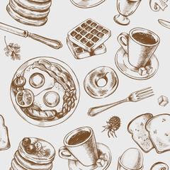 Tapeta Seamless pattern with hand-drawn breakfast elements. Vector illustration.