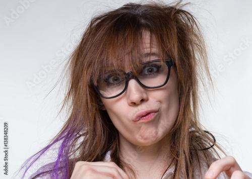 Fotografie, Obraz  Grimacing scientist shaggy woman