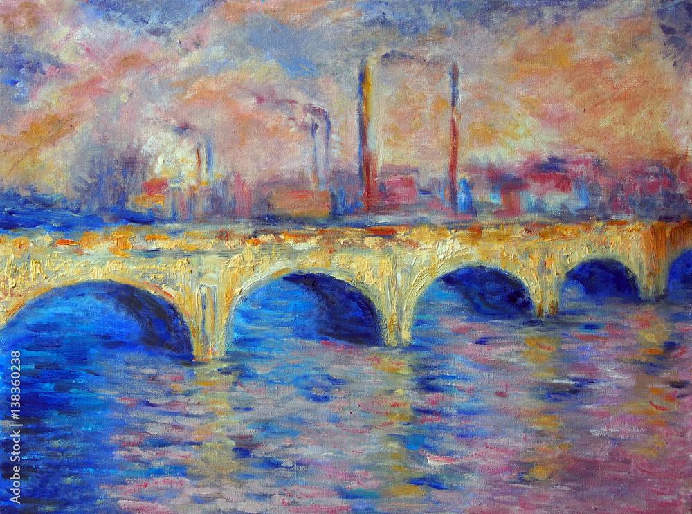 Fototapeta Original oil painting on canvas - London Bridge in impressionism style